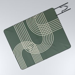 Minimalist Lines in Forest Green Picnic Blanket