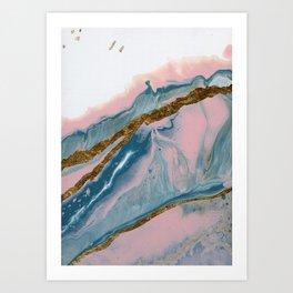 Meditation on Teal and Pink #1 Art Print