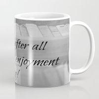 jane austen Mugs featuring Jane Austen Reading by KimberosePhotography