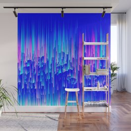 Neon Rain - A Digital Abstract Wall Mural