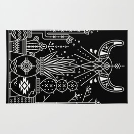 Santa Fe Garden – White Ink on Black Rug