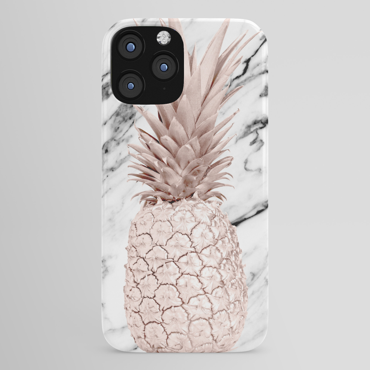 Rose Gold Pineapple On Black And White Marble Iphone Case By Followmeinstead Society6