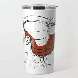 Red-haired woman with freckles. View from the back. Abstract face. Fashion illustration Travel Mug