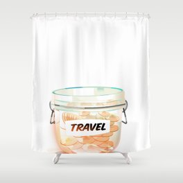 Travel Coin Jar Shower Curtain