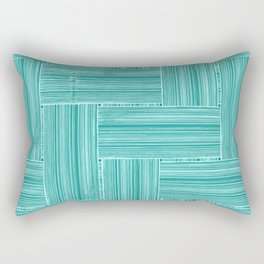 Woven Bamboo Texture Sea Green Rectangular Pillow