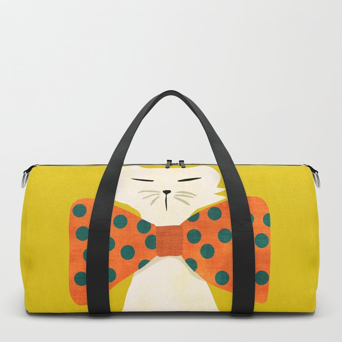 Cat with incredebly oversized humongous bowtie Duffle Bag