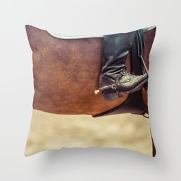 Close up of a cowboy boot in a stirrup Throw Pillow