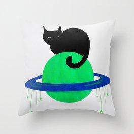 sleepy space cat Throw Pillow