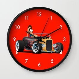 Custom Hot Rod Roadster Car with Flames and Sexy Woman Wall Clock