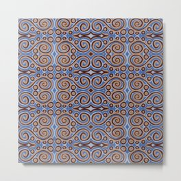 Swirls in blue Metal Print