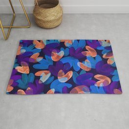 Vibrant Acrylic Painting Layered Tulips Floral Pattern Multi Colors Neon Purple Blue Orange Party Vibe Rug