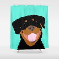 rottweiler Shower Curtains featuring Rottweiler graphic on Mint by Moni & Dog