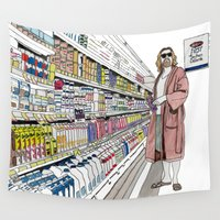 big lebowski Wall Tapestries featuring Jeffrey Lebowski and Milk. by DJayK