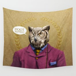 "Mr. Owl says: ""HOOT Happens!"" Wall Tapestry"