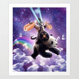 Lazer Warrior Space Cat Riding Panda With Hotdog Art Print