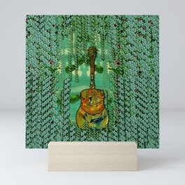 guitar in the most beautiful landscape of fantasy and sakura Mini Art Print