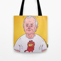 bill murray Tote Bags featuring Bill Murray by Luke McGarry