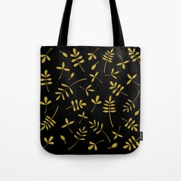 Gold Leaves Design on Black Tote Bag