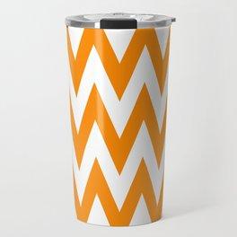 Team Spirit Chevron Orange and White Travel Mug