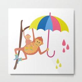Monkeys in Rain Boots Metal Print