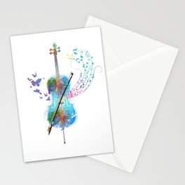 Butterfly Cello Instrument Stationery Cards