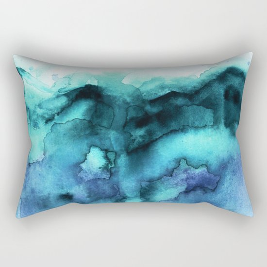 Abstract teal purple watercolor by jenmerli