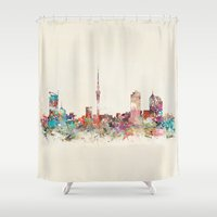 new zealand Shower Curtains featuring auckland new zealand by bri.buckley
