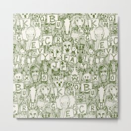 animal ABC green ivory Metal Print