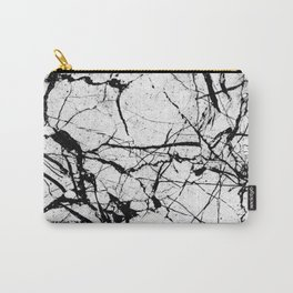 Dusty White Marble - Textured Black And White Carry-All Pouch
