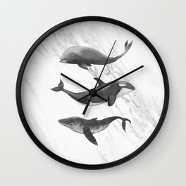 Ocean Whales Marble Black and White Wall Clock