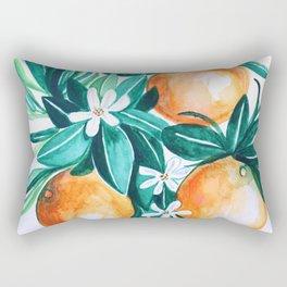 Orange flower watercolor Rectangular Pillow