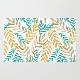 Tropical leaves (yellow and blue). Watercolor Rug