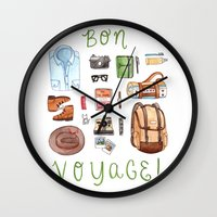 bon iver Wall Clocks featuring Bon Voyage by Brooke Weeber