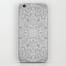 White Mandala on Grey Linen iPhone & iPod Skin