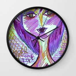 Purple Lily Tiger Times Wall Clock