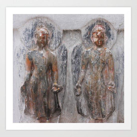 Bodhinath Shrine - Two Figures Art Print
