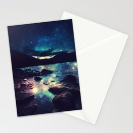 Magical Mountain Lake : Deep Pastels Teal Mauve Stationery Cards