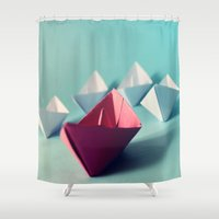 boats Shower Curtains featuring Boats by Studio Samantha