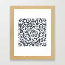 White Lace. Seamless Pattern. Framed Art Print