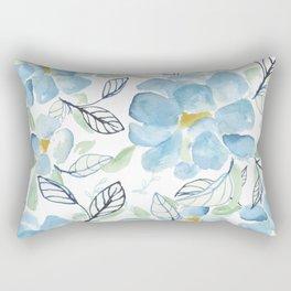 Blue flower garden watercolor Rectangular Pillow