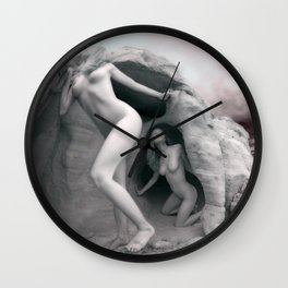 6228 BW Three Desert Art Nude Women Among Rocks Wall Clock