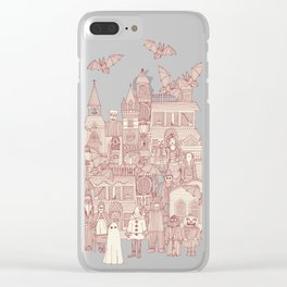 vintage halloween claret ivory Clear iPhone Case