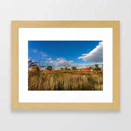 Farms on a fall day Framed Art Print