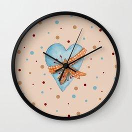 Country Heart And Polka Dots Watercolor Wall Clock