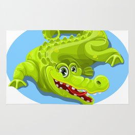 Cartoon Crocodile Vector Design 2 Rug