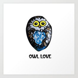 Owl Love Rock Painting on River Rock by annmariescreations Art Print