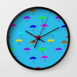 rain of umbrellas Wall Clock