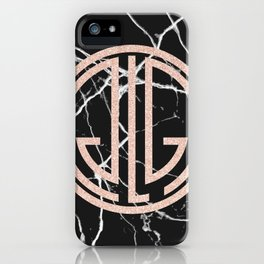 great Gatsby rose gold black marble iPhone Case
