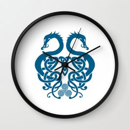 Merged Norse Dragons Wall Clock