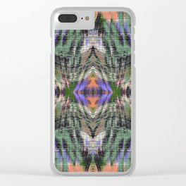 geometric symmetry pattern abstract background in green purple orange Clear iPhone Case